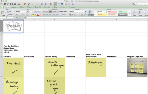 Exporting to Excel converts each post-it note to a cell.