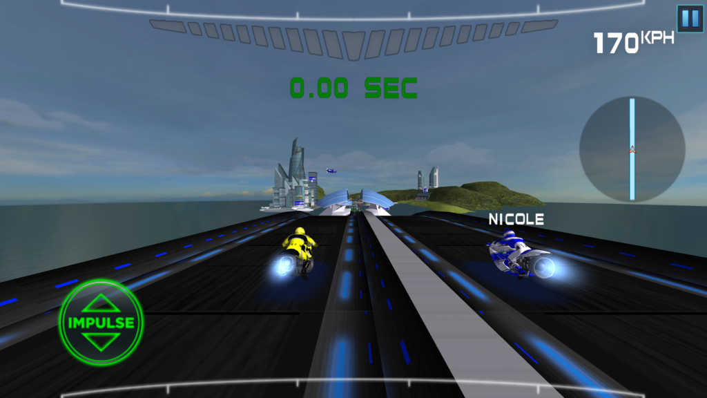 There are different goals for each track – this one shows a drag race between the player, one opponent, and a straight line.