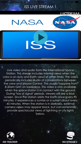 The app's main stream, Live Stream 1, lets users listen in to conversations with Mission Control while also viewing video from the International Space Station.