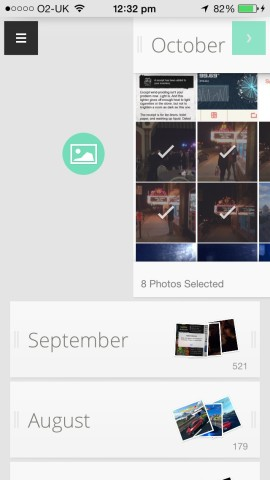 Swipe gestures are used to archive photos or, as depicted, assign them to an album