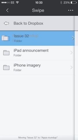 Moving files or folders is all done with drag 'n' drop gestures
