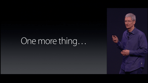 Tim Cook on stage using Steve Jobs' famous line