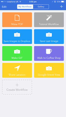 Workflow's main interface allows users to edit or launch each and every one of their own creations.