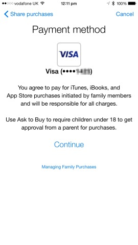 You'll need to share your credit card with family members, however, in order to activate Family Sharing.