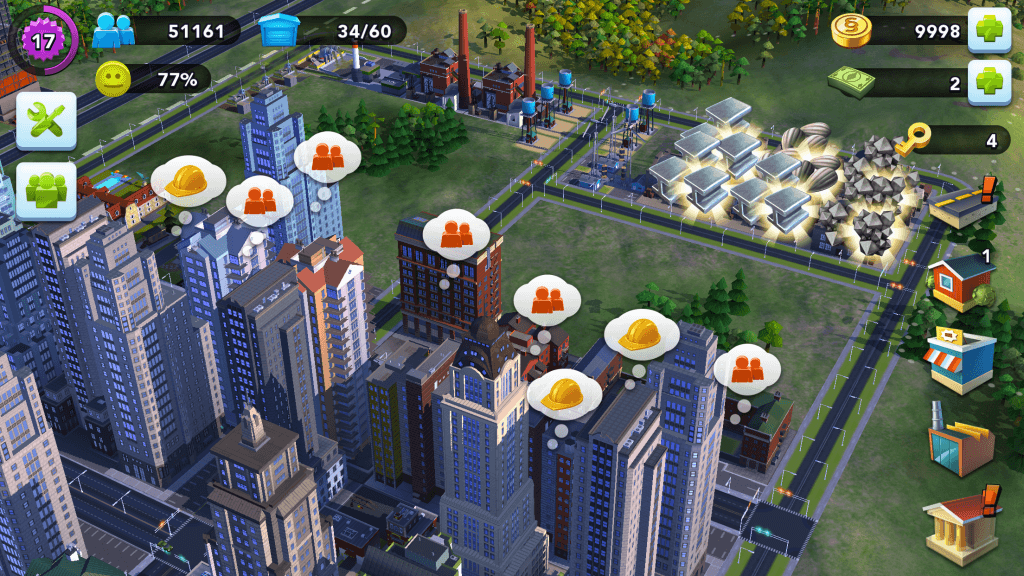 You can build factories to create materials to grow your city