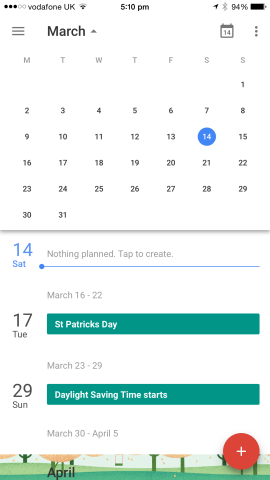 A month view allows users to look further ahead, and it's possible to return to the current day by tapping a calendar button in the top-right of the screen.