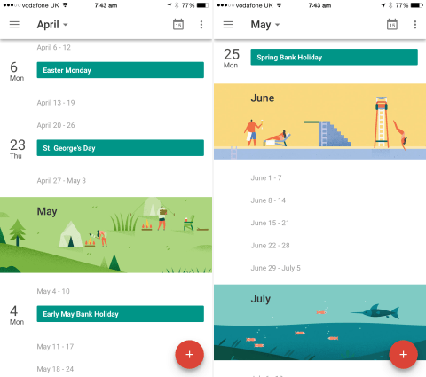 The monthly graphics, pictured above, are one of our favorite features of Google Calendar.