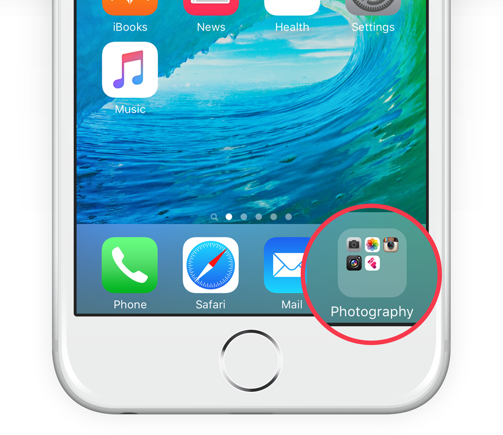 Place a folder in the dock for quick access