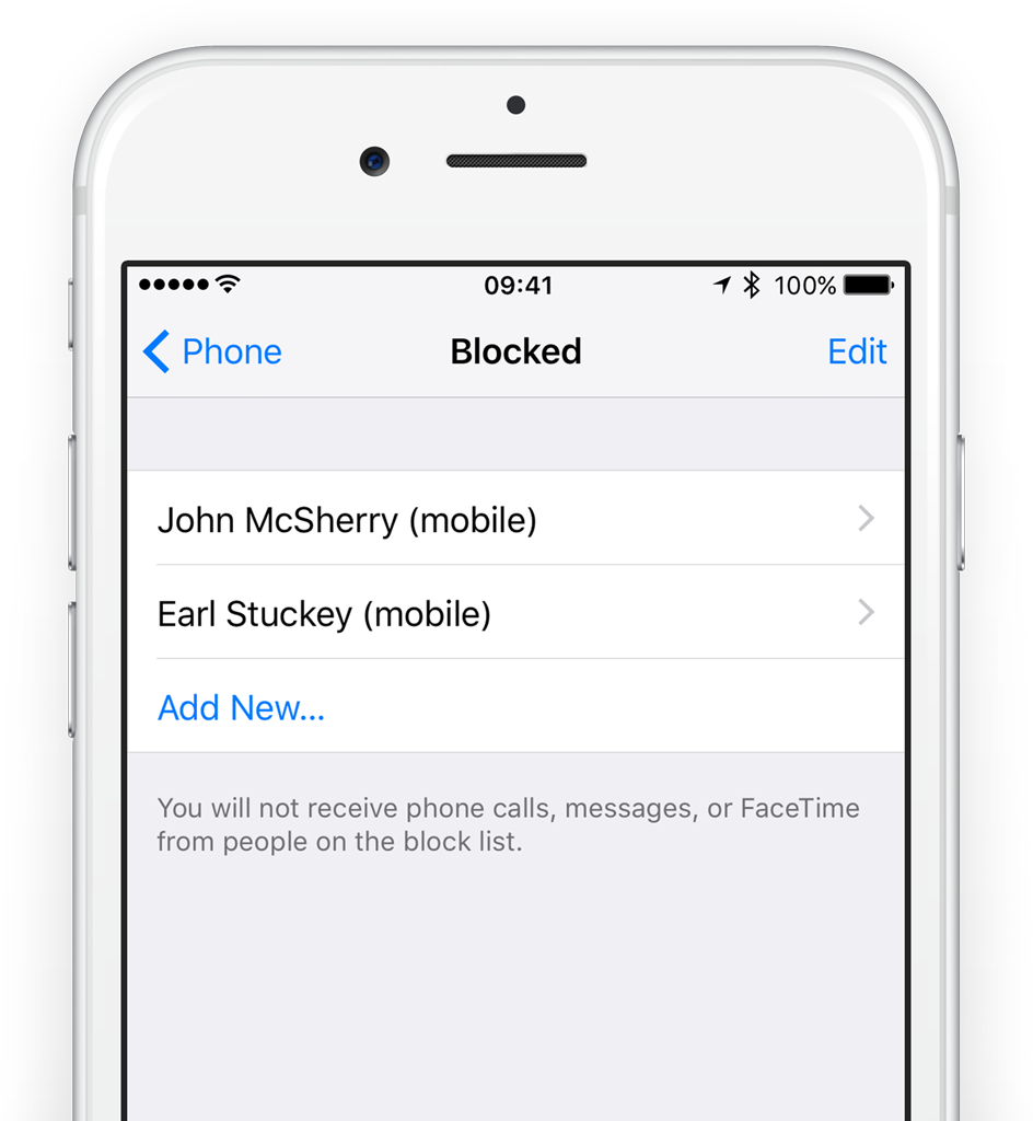 Tap Edit to remove callers from the block list