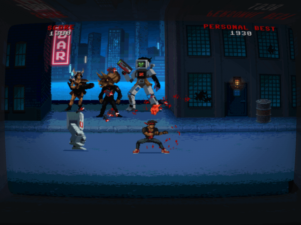The cartoon violence isn't over the top, but it's there – 80s pixel gore in all its glory