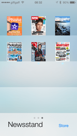 Newsstand is designed to mimic the shelves in a newsagent.