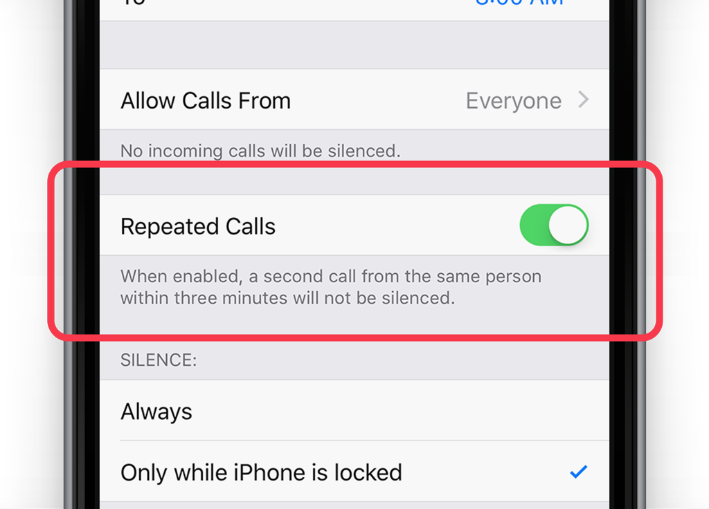 Toggle to allow repeated calls to ring through