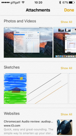 The Attachments Browser displays all the attachments on your notes