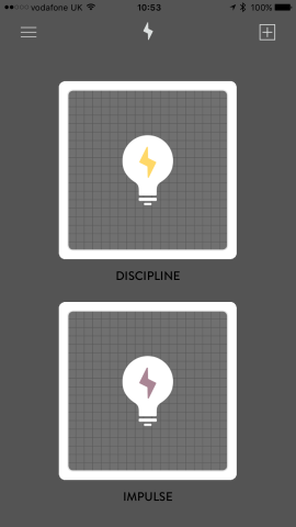 Spark's main user interface (UI). Tapping on a card pack reveals a prompt.