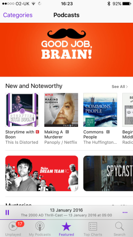 Apple's Podcasts app is great for show discovery.