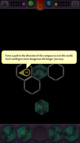 """You're first offered a series of """"hints"""" which explain how the game works. These don't appear all at once, and instead pop up at the right time in order to help players on their way."""